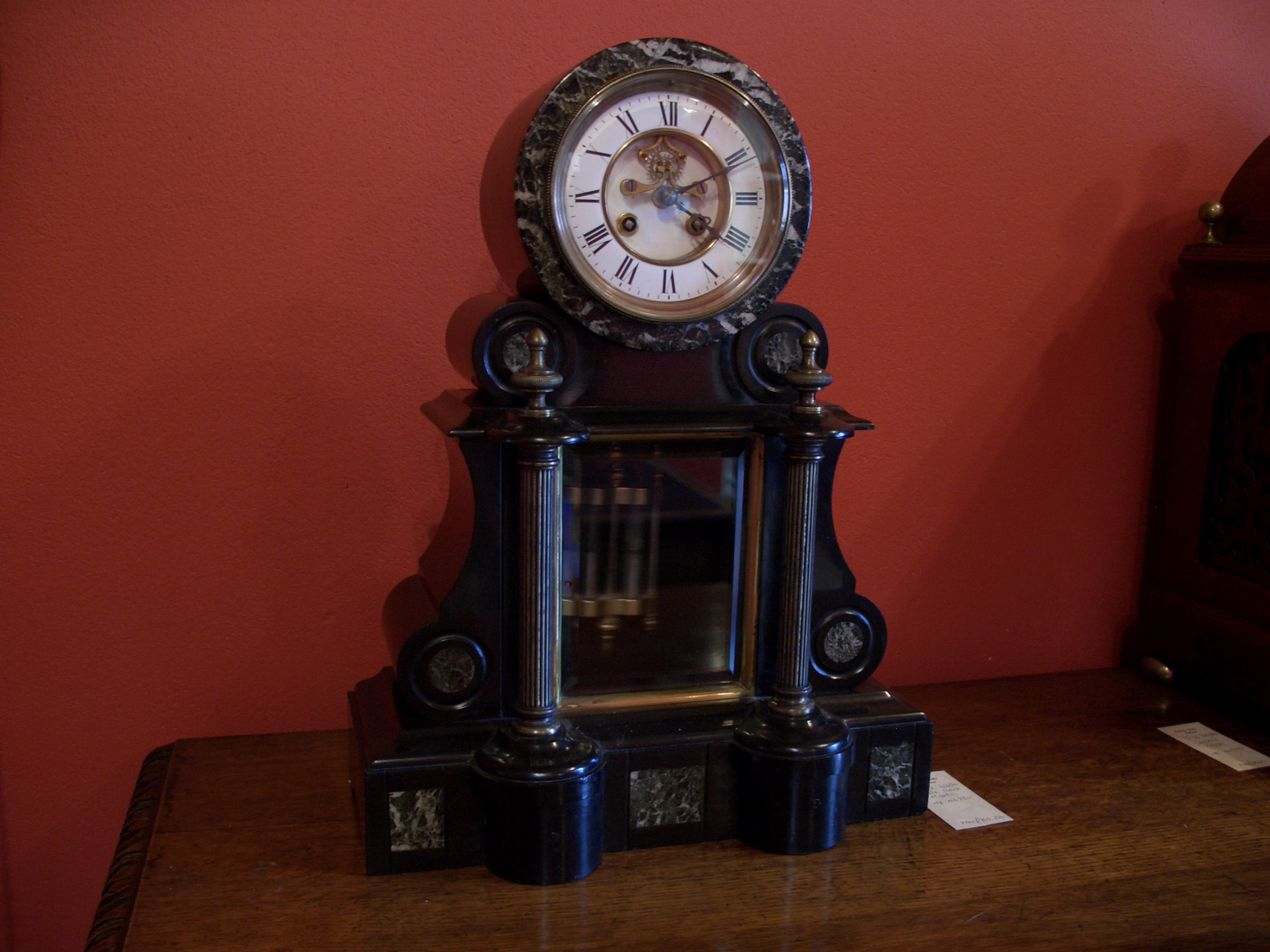 Black slate mantel clock
