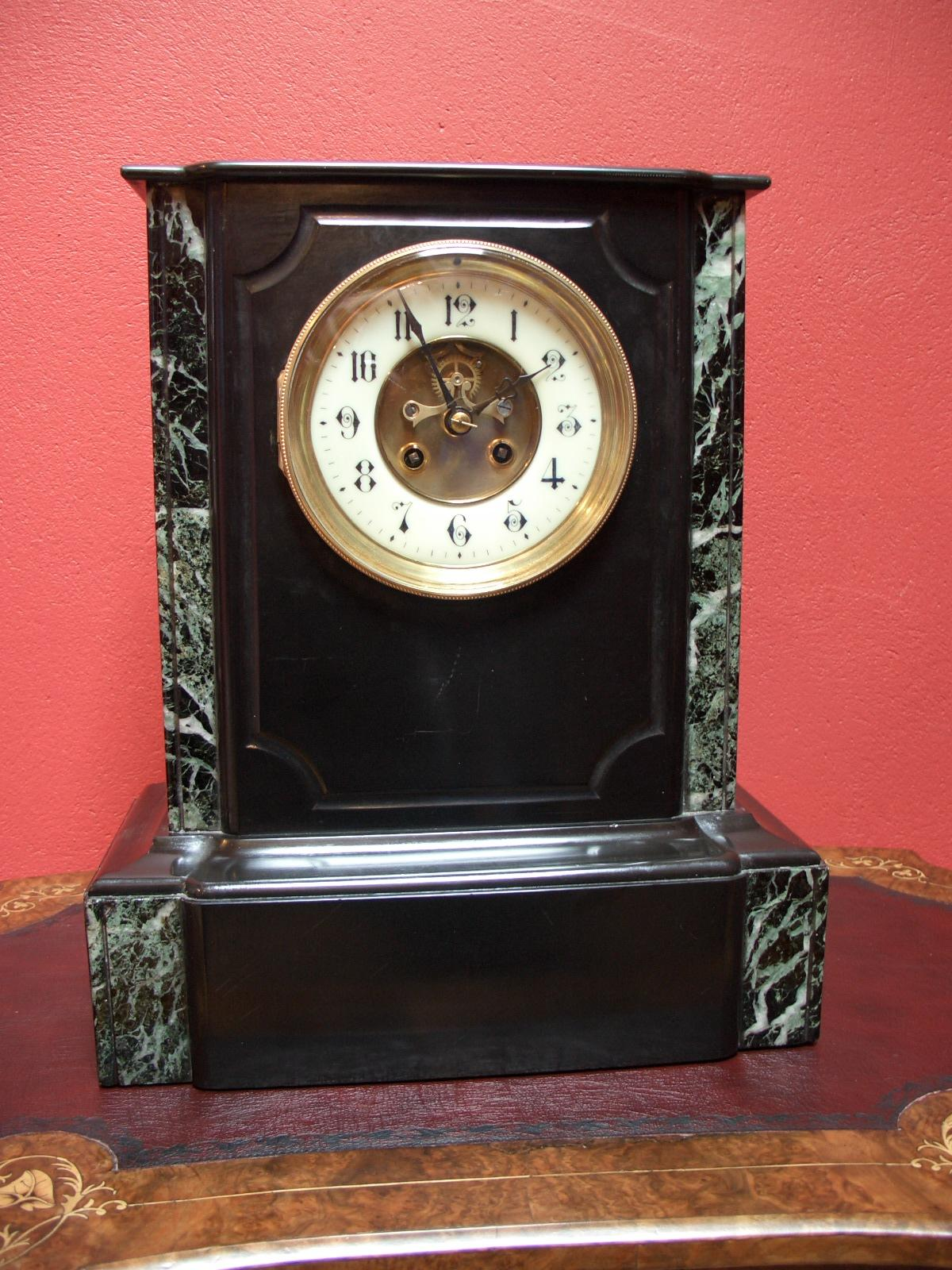 Japy Freres, French black slate mantel clock – SOLD
